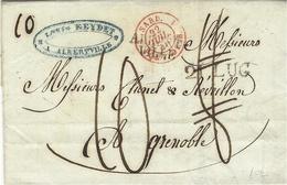 1840-lettre D'ALBERT-/VILLE  21 LUG  Savoie ( Royaume De Sardaigne ) Pour Grenoble  Taxe 8 D. Puis 10 D - Marcophilie (Lettres)
