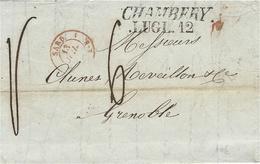 1843-lettre De CHAMBERY /LUGL.12  Savoie ( Royaume De Sardaigne  Taxe 6 D Pour Grenoble - Marcophilie (Lettres)