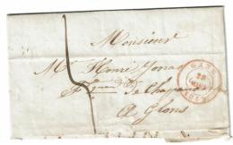 Lettre 28 Mars 1849 De Gand Vers Glons  Verso Liège Et Glons Type 18 - 1830-1849 (Belgique Indépendante)