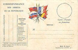 Réf : A-18 Pie Tre-3060 : CARTE POSTALE  CORRESPONDANCE DES ARMEES DE LA REPUBLIQUE. DRAPEAUX - Marcophilie (Lettres)