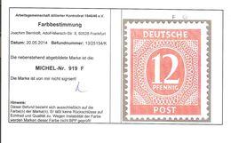 919 F Postfrisch - Mit Befund - Zone AAS
