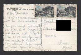 DF / FRANCE SUR CP / TP 976 X 2 LOURDES / OBL. 1955 VAR - Cartas