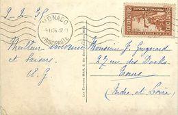 Réf : A-18 Pie Tre-3078 : CARTE POSTALE MONACO . TIMBRE 20 CENTIMES  1935 - Marcophilie