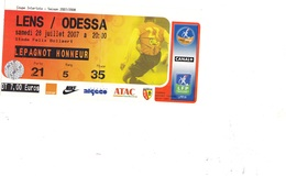 1 Ticket Entrée Coupe Intertoto Saison 2007 - 2008C LENS - ODESSA Du 28 Juillet 2007 à  Bollaert - Match Tickets
