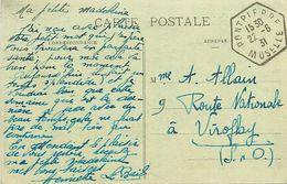 Réf : A-18 Pie Tre-3081 : CARTE POSTALE DE FAULQUEMONT  CACHET HEXAGONAL PONTPIERRE MOSELLE.  22 JUIN 1931 - Storia Postale