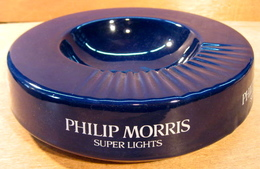 CENDRIER PHILIP MORRIS SUPERS LIGHTS / CERAMIQUE ROUGE FONTAINE BAUDOUR BELGIUM ( GRAND MODELE ) - Ashtrays