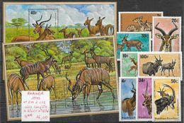 Mammifère Antilope - Rwanda N°611 à 618, BF N°45 & 46 1975 ** - Francobolli