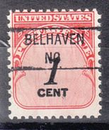 USA Precancel Vorausentwertung Preo, Locals North Carolina, Belhaven 841 - Etats-Unis
