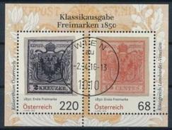 """Österreich Austria 2016: Block """"Klassikausgabe Freimarken 1850"""" Mit O WIEN 2.4.16 (unter Postpreis) - Briefmarken Auf Briefmarken"""