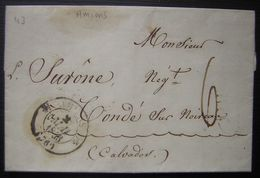 1843 Amiens, Lettre Pour Condé Sur Noireau - 1801-1848: Précurseurs XIX