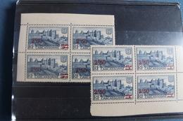 1941     CARCASSONNE   SURCHARGE    X   2   BLOCS  DE  4    FRAICHEUR  POSTALE - Neufs