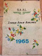 SYRIAN ARAB AIRLINES CALENDAR 1965 - CYPRUS / DAMSCUS / JERUSALEM / PAKISTAN / - Formato Grande : 1961-70