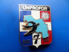 7° Division Blindée, UNPROFOR BAT INF 7 , Insigne , Insigne Blindée - Armée De Terre