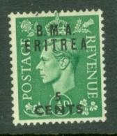 Eritrea: 1948/49   KGVI 'B.M.A. Eritrea'    SG E1    5c On ½d     MH - Eritrea