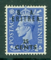 Eritrea: 1950   KGVI 'B. A. Eritrea'    SG E16    25c On 2½d     MH - Eritrea