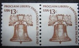 1975 USA 13c Americana Issues Coil Pair Stamp Liberty Bell Sc#1618 History Post Music - Post