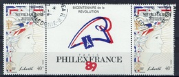 New Caledonia, French Revolution, 1989, VFU, Pair + Label - Nieuw-Caledonië