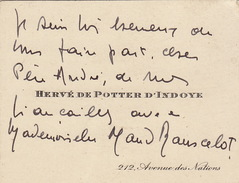 Carte De Visite Herve De Potter D'indoye - Tarjetas De Visita