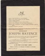 Joseph Mayence Famille Demaret Creton Douan à Jumet - Décès