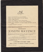 Joseph Mayence Famille Demaret Creton Douan à Jumet - Esquela