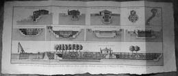 (17) Rochefort, Plan 18e S. Elevations Et Profils Des Formes De Rochefort, Gravure Originale, - Máquinas