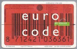 NL.- Telefoonkaart.- Nederland. PTT Telecom. 10 Euro, EURO CODE. Euro Vervangt NLG, DEM Et Cetera. - Netherlands