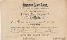 Institut Saint Louis Ecole Bruxelles Bulletin En 1892 Pour Coen Léon - Bélgica