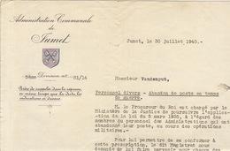 Courrier Administration Jumet Abandon De Poste En Temps De Guerre - Documenten