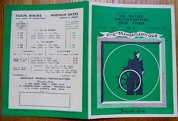 Horaires De La Cie Générale Transatlantique Le Havre, Southampton, New York, 1949-1950 - World