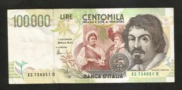 """ITALIA - BANCA D' ITALIA - 100000 Lire """"CARAVAGGIO"""" - II° Tipo (Firme: Fazio / Amici) - [ 2] 1946-… : Républic"""