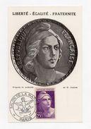 !!! CARTE MAXIMUM 25 F MARIANNE DE GANDON CACHET SALON DE LA MARINE 1945 - REF B2 - Maximum Cards