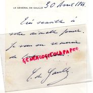 54-PONT A MOUSSON-RARE LETTRE MANUSCRITE SIGNEE GENERAL DE GAULLE A GEORGES GUILLAUME PDT SIDI BRAHIM--1964 - Historical Documents
