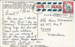 US Postcard Via Yugoslavia Macedonia - Machine Meter Postmark - Support Your Mental Health Association - Santé