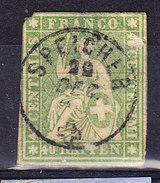 SUISSE YT 30 OBL, AMINCI. (8A8) - 1854-1862 Helvetia (Ungezähnt)