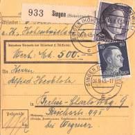 Paketkarte Singen (Hohentwiel) 06.8.43.-17 - Germania
