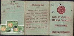 Carte De Séjour De Résident Ordinaire Réfugié Espagnol Guerre D'Espagne Suite Retirada Timbres Fiscaux à 115 Et 2.50 Frs - Fiscales