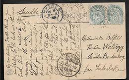 ILE DE PORQUEROLLES Var CAD Type 84 Sur Paire 5c Blanc 24.8.1905 Pour La Suisse . ...G - Marcophilie (Lettres)