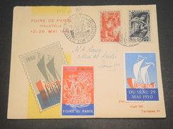 FRANCE - Oblitération  Et Vignettes De La Foire De Paris En 1950 Sur Enveloppe -  L 11570 - Erinnophilie