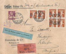 """Wertbrief  """"Zumstein, Bern"""" - Laufen           1923 - Briefe U. Dokumente"""