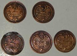 AUSTRIA – 2 HELLER – 1895 – 1908 – 1912 – 1914 – 5 MONETE – (135) - Austria
