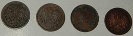 AUSTRIA  - 1 HELLER – 1893 – 1897 – 1909 – 4 MONETE – (143) - Austria