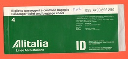 ALITALIA Airlines Avion Flight Aerei Carta D'imbarco Volo Roma > Venezia > Roma 1978 - Plane