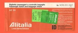 ALITALIA Airlines Avion Flight Aerei Carta D'imbarco Volo Roma > Venezia > Roma 1982 - Plane