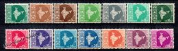 Inde - India 1957-58 Yvert 71-83, Definitive, Indian Map  - MNH - 1950-59 Republic
