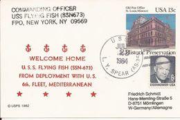 USS FLYING FISH, NEW YORK (U.S.A.) - CARTE Avec TIMBRE IMPRIME + TIMBRE - Vers MÖMLINGEN (Deutschland) - 23 Juill 1984 - Postcards