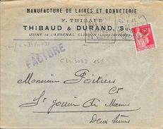 LOIRE ATLANTIQUE 44 - CLISSON  -  DAGUIN  N° CLI 302 D -  DESCRIPTION - 1931  ENV MANUFACT. LLAINES ET BONNETERIE - Postmark Collection (Covers)
