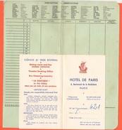 Old Facture Hotel De Paris 1959 Et Carte - Francia