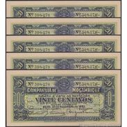 TWN - MOZAMBIQUE R29 - 20 Centavos 25.11.1933 DEALERS LOT X 5 - Perforated: PAGO 5.11.1942 AU - Mozambico