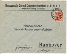 Germany Cover Sent Hannover Osnabruck 24-7-1922 Single Stamped - Allemagne