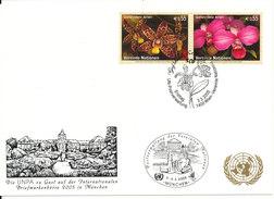 Austria UN Vienna Show Card München 3-5/3-2005 ORCHIDS On The Stamps - Wien - Internationales Zentrum